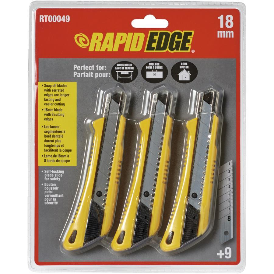 Rapid Edge 3 Piece 18mm Snap-Off Utility Knife Set