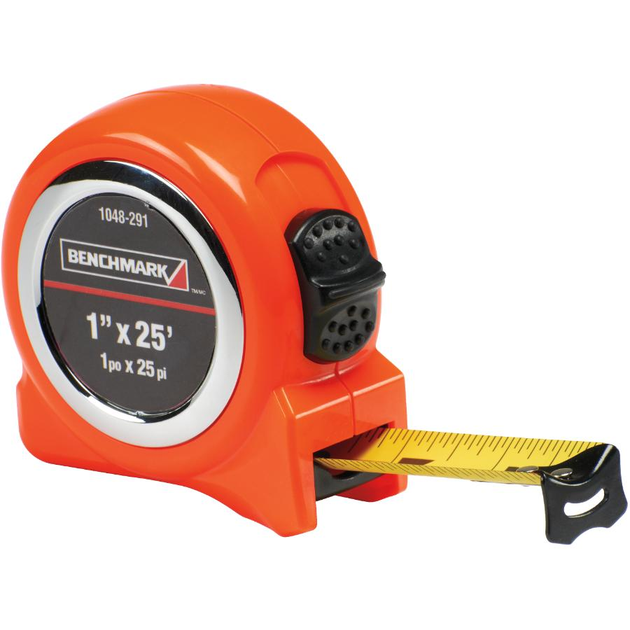 "Benchmark 1"" x 25' High Visibility Orange Tape Measure"