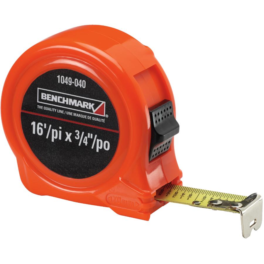 "Benchmark 3/4"" x 16' High Visibility Orange Tape Measure"