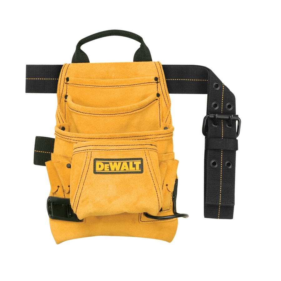 Dewalt 10 Pocket Heavy Duty Suede Leather Carpenter Nail and Tool Pouch