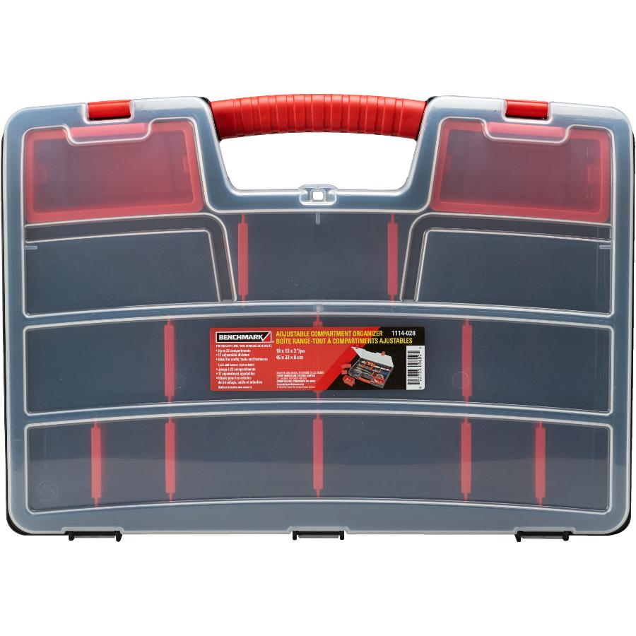 "Benchmark 18"" x 13"" x 3"" 22 Compartment Adjustable Parts Organizer"