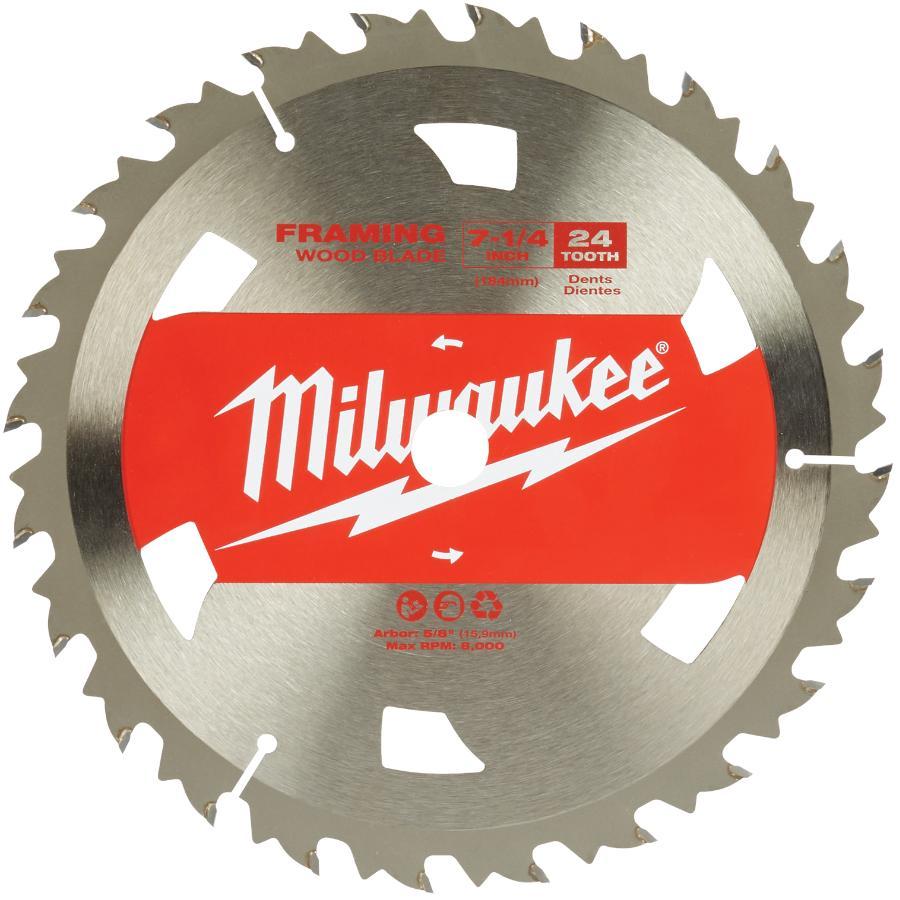 "Milwaukee 7-1/4"" 24 Tooth Basic Carbide Framing Circular Saw Blade"