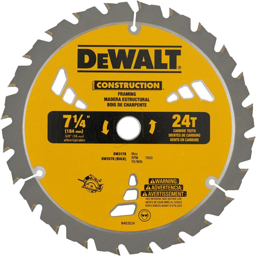 "DEWALT: 7-1/4"" 24 Tooth Carbide Framing Circular Saw Blade"