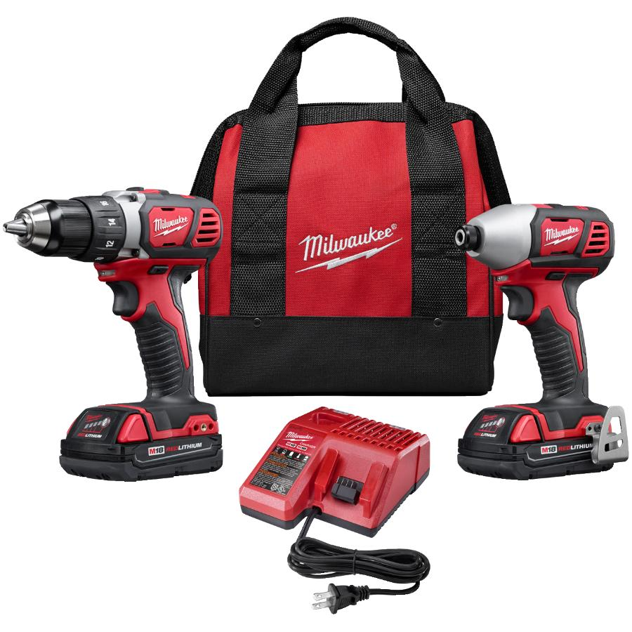 Milwaukee M18 Cordless Compact Drill & Impact Driver Combo Kit (2691-22) - 18V + 2 Batteries + Charger + Tool Bag