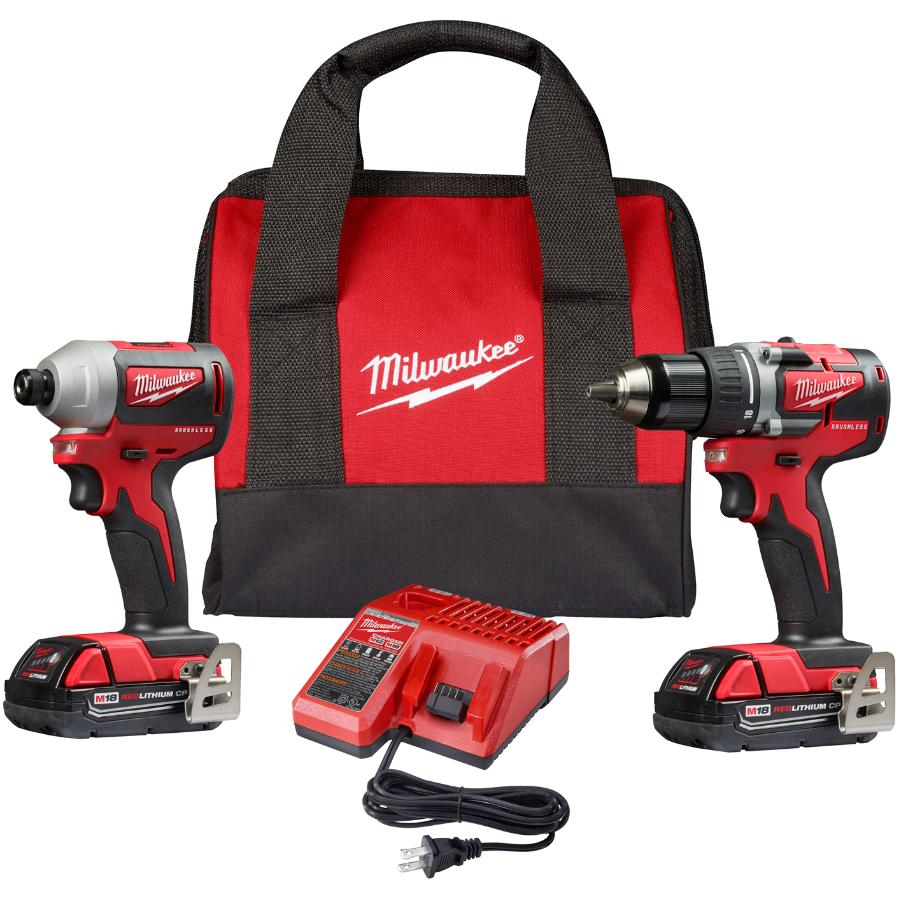 Milwaukee M18 Redlithium Cordless Compact Drill Driver & Impact Driver Combo Kit - 18V + 2 Batteries + Charger + Tool Bag