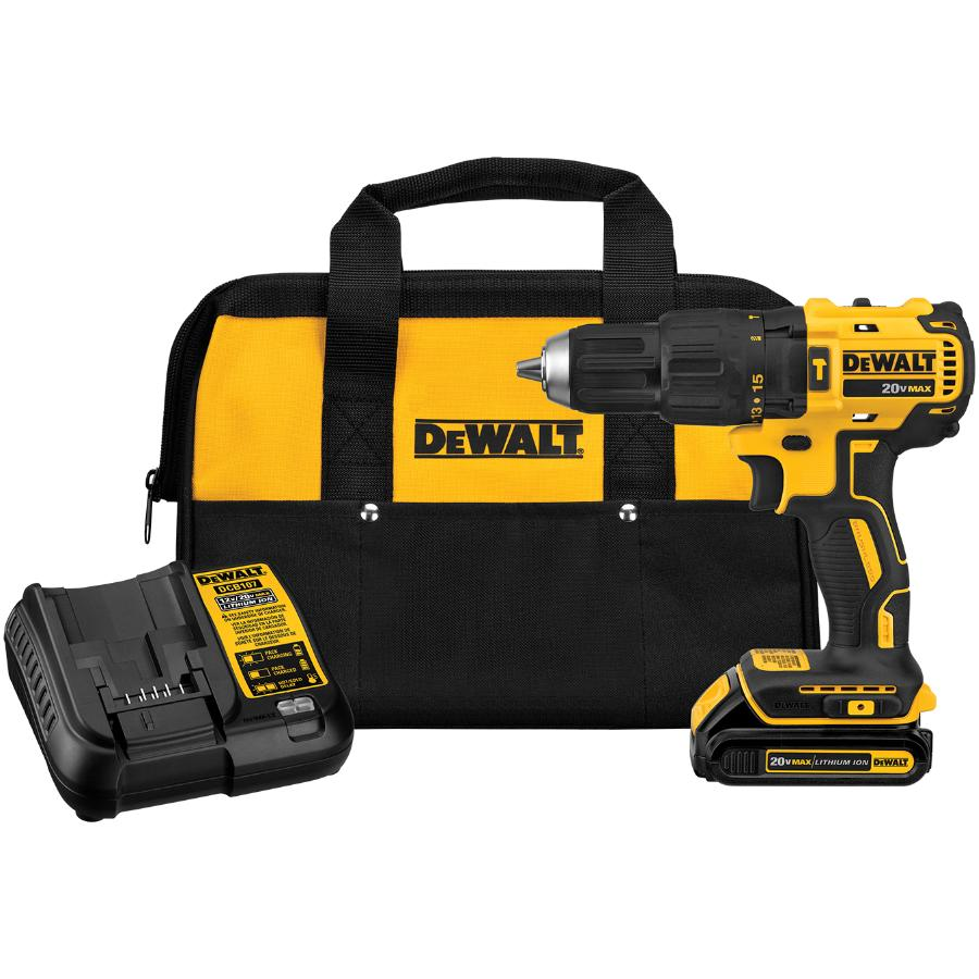 """Dewalt 20V MAX 1/2"""" Lithium-ion Cordless Hammer Drill Kit - Includes Battery, Charger & Tool Bag"""