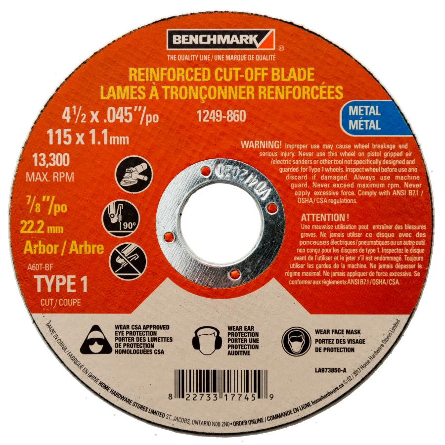 "Benchmark 4-1/2"" x .045"" x 7/8"" Metal Cut-Off Wheel"