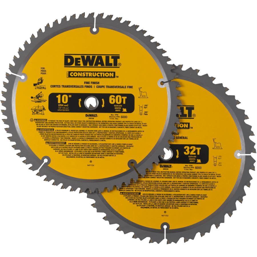 "Dewalt: 2 Pack 10"" 32/60 Tooth Construction Circular Saw Blades"