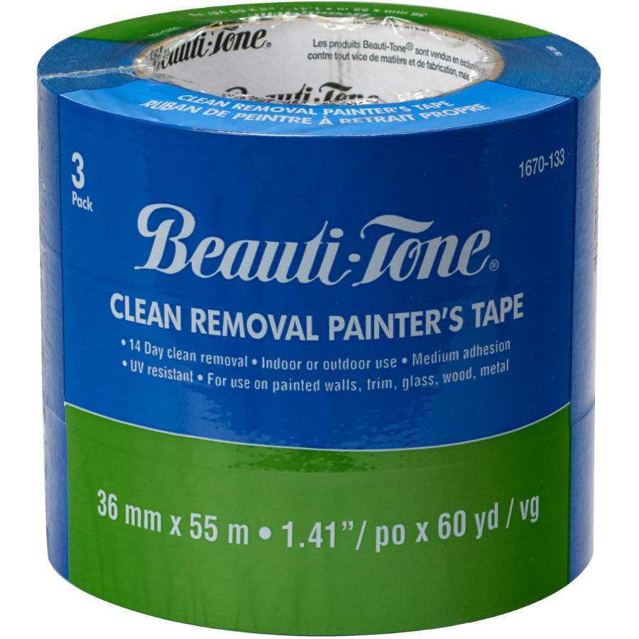 Beauti-tone 3 Pack 36mm x 55m Blue Painter's Tape
