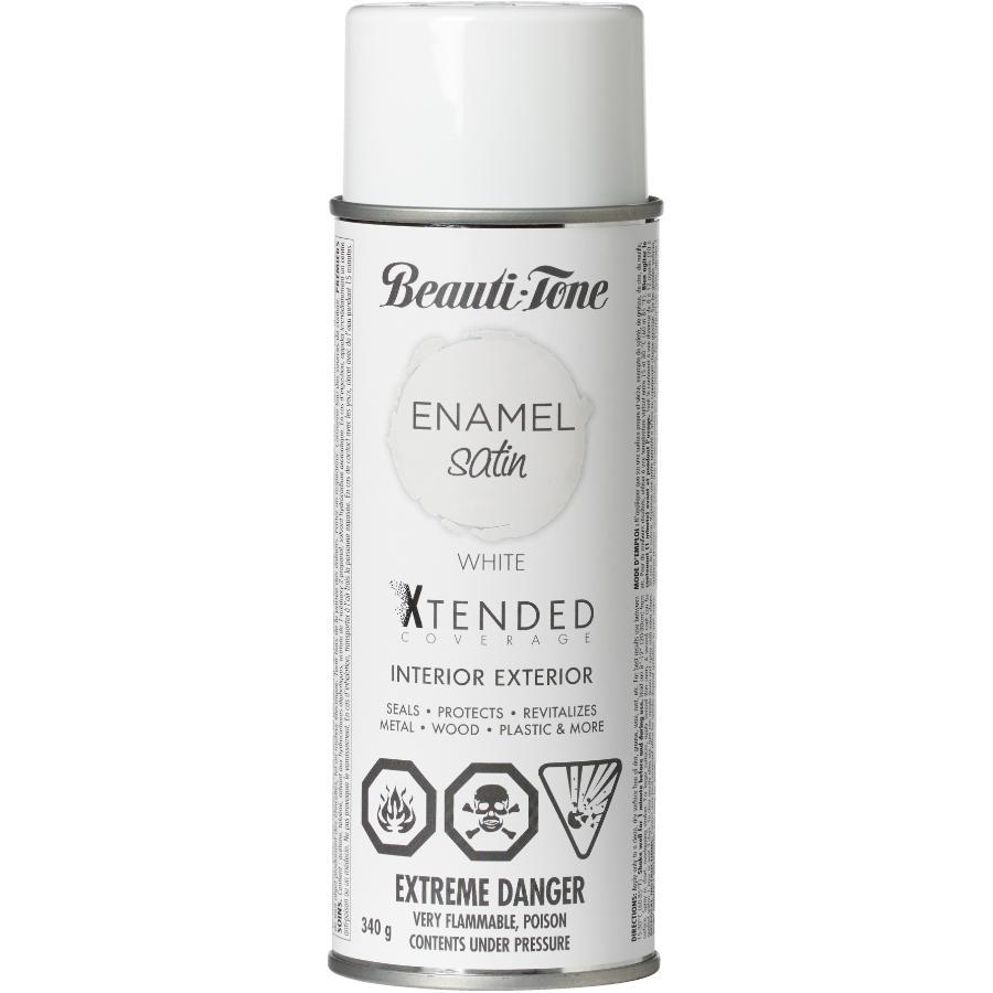 Beauti-tone: 340g Interior/Exterior White Satin Solvent Paint