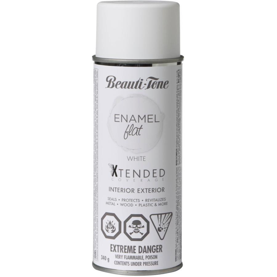 Beauti-tone: 340g Interior/Exterior Flat White Solvent Spray Paint