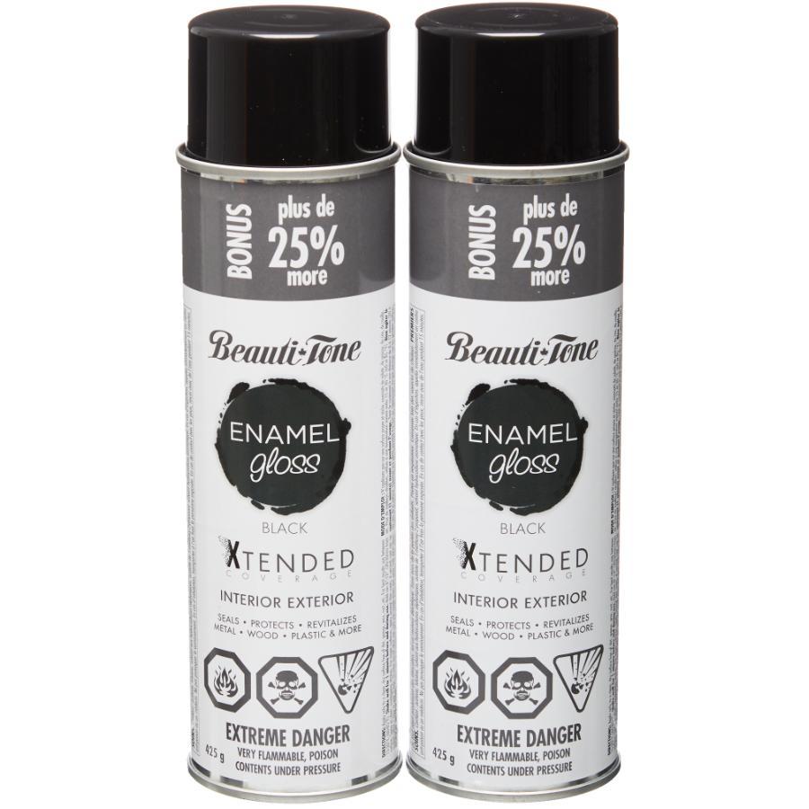 Beautitone Enamel Interior / Exterior Spray Paint - Gloss Black, 425 g, 2 Pack