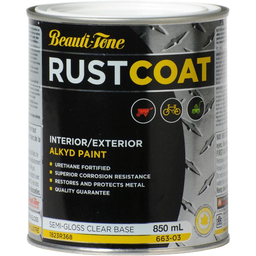 Beautitone Rust Coat Alkyd Rust Paint - Semi-Gloss Clear Base, 850 ml