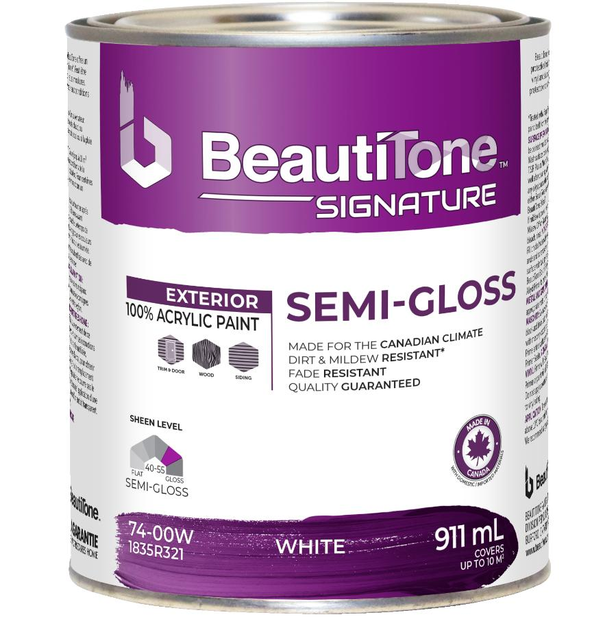 Beautitone Signature Exterior Acrylic Latex Semi-Gloss Paint - White Base, 911 ml