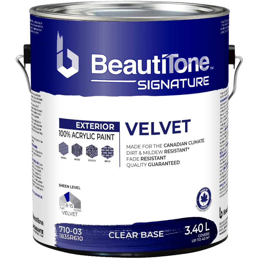 Beauti-tone Signature Series 3.40L Velvet Finish Clear Base Exterior Latex Paint