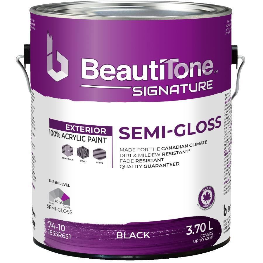 Beautitone Signature: 3.78L Black Semi-Gloss Exterior Latex Paint