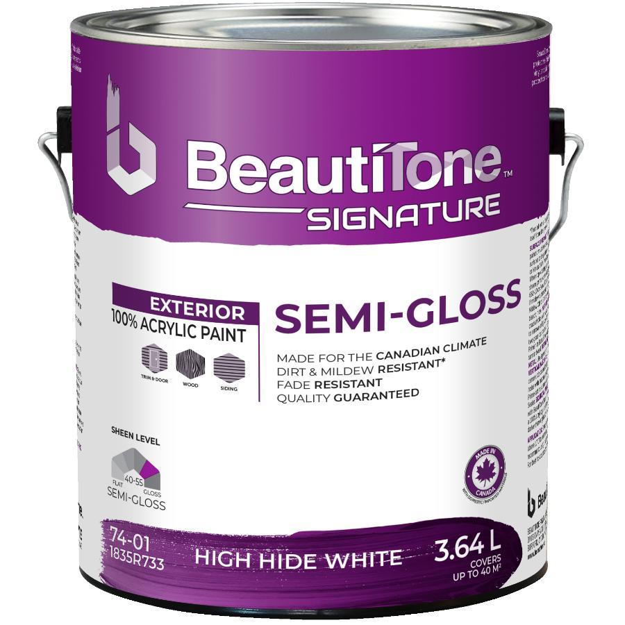 Beauti-tone Signature Series 3.64L White High Hide Semi-Gloss Exterior Latex Paint