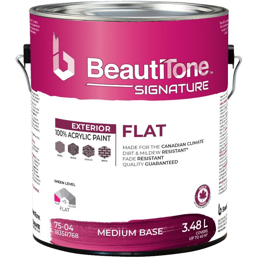 Beautitone Signature Exterior Acrylic Latex Flat Paint - Medium Base, 3.48 L