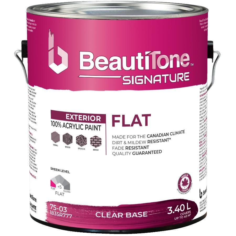 Beauti-tone Signature Series 3.40L Flat Finish Clear Base Exterior Latex Paint