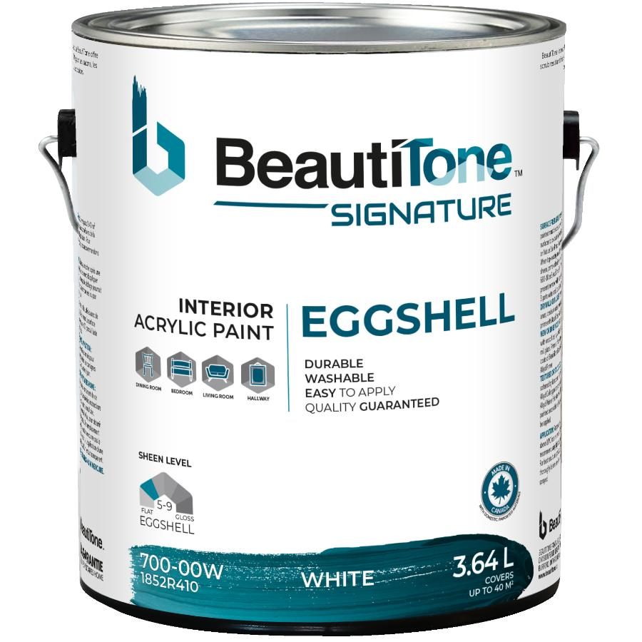 Beauti-tone Signature Series: 3.64L White Base Eggshell Finish Interior Latex Paint