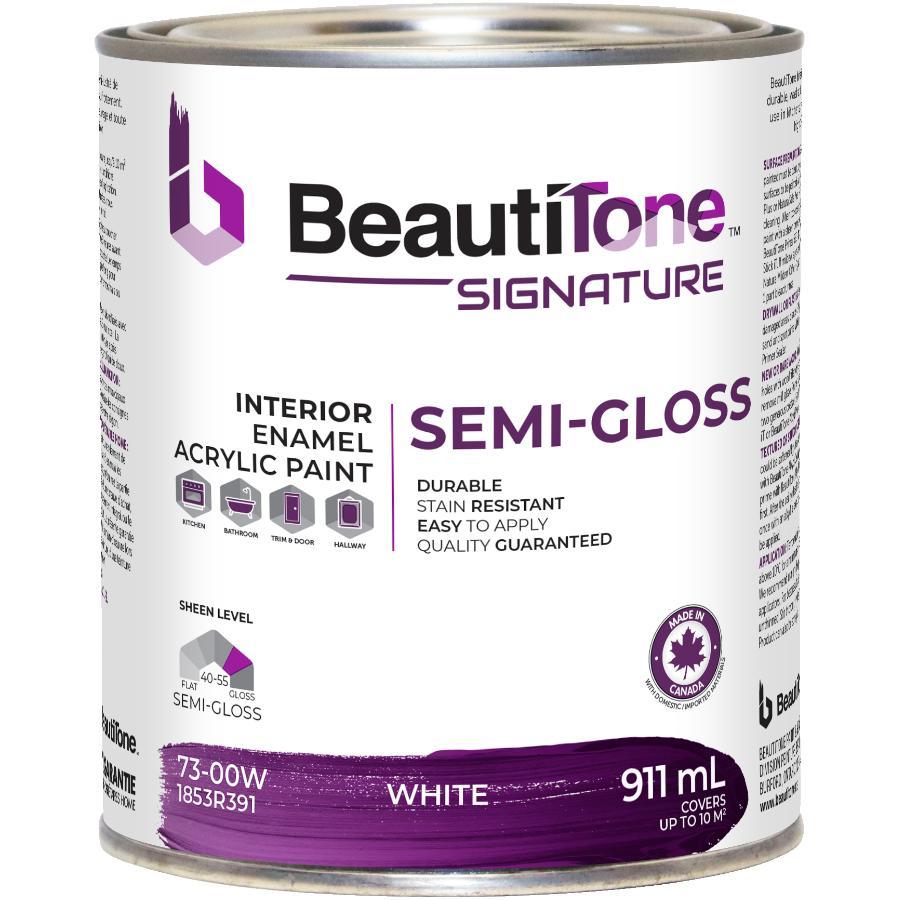 Beautitone Signature Interior Acrylic Latex Semi-Gloss Paint - White, 911 ml