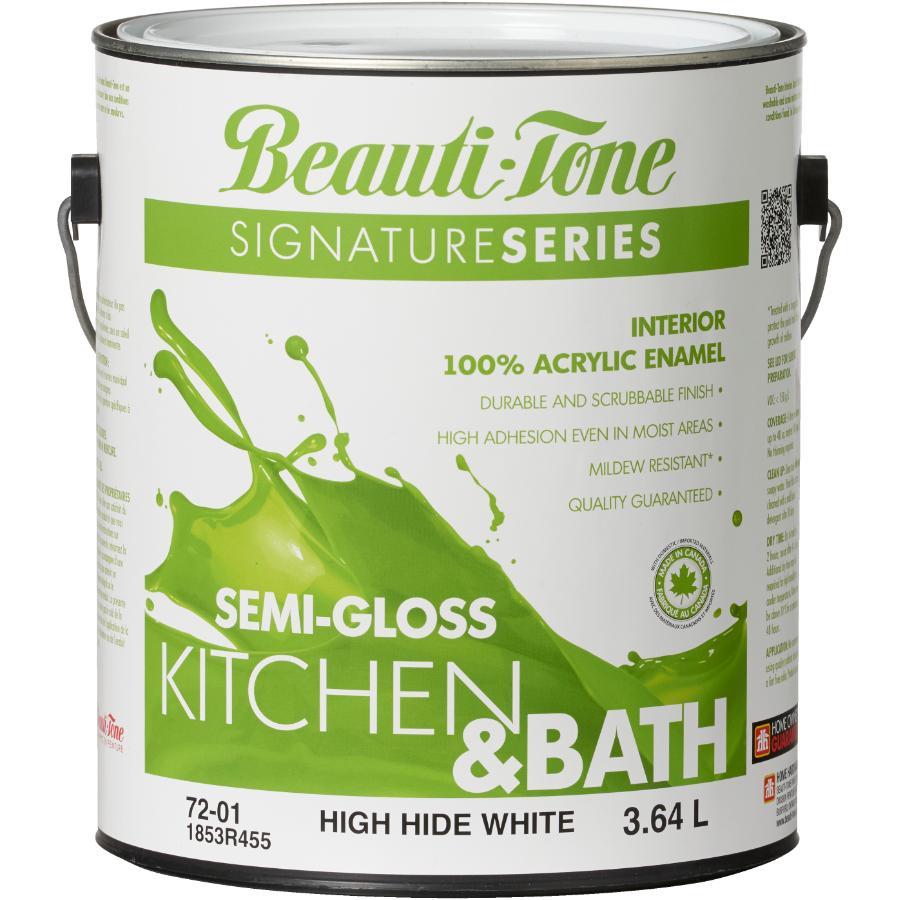 Beauti-tone Signature Series 3.64L High Hide White Base Semi Gloss Kitchen & Bath Interior Latex Paint