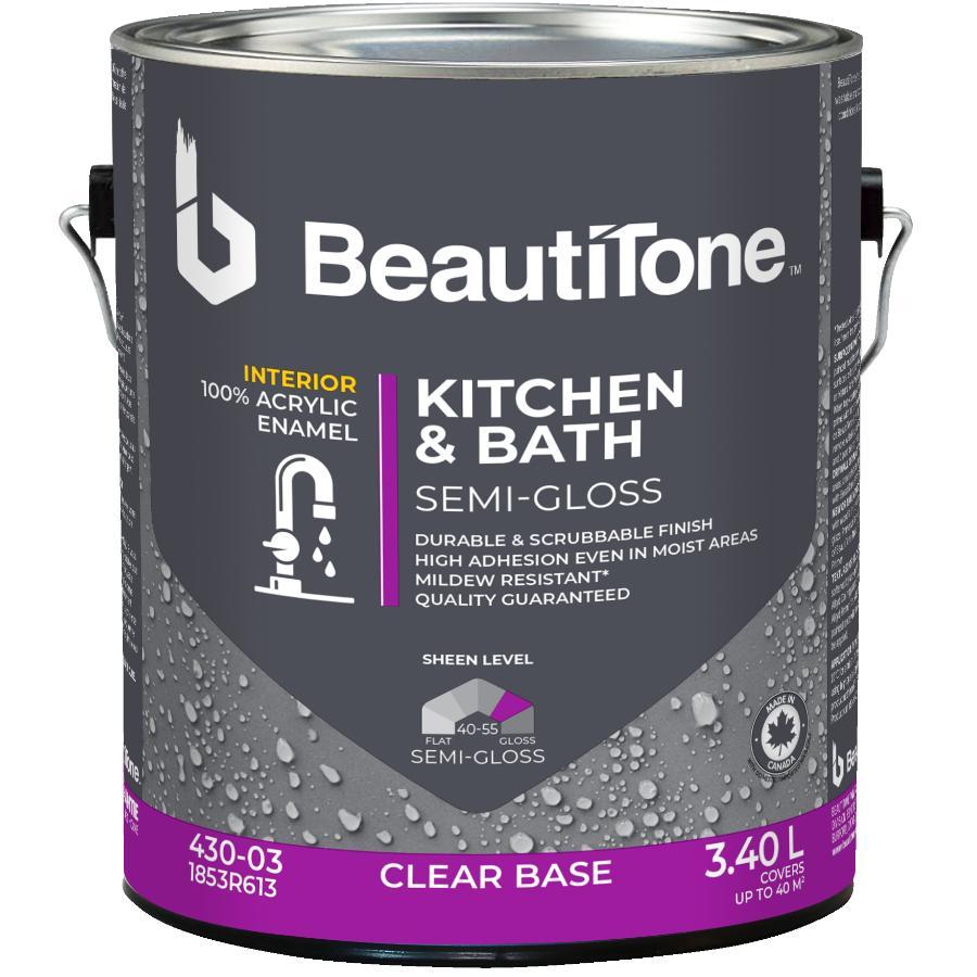 Beautitone: Interior Acrylic Latex Semi Gloss Kitchen & Bath Paint - Clear Base, 3.4 L