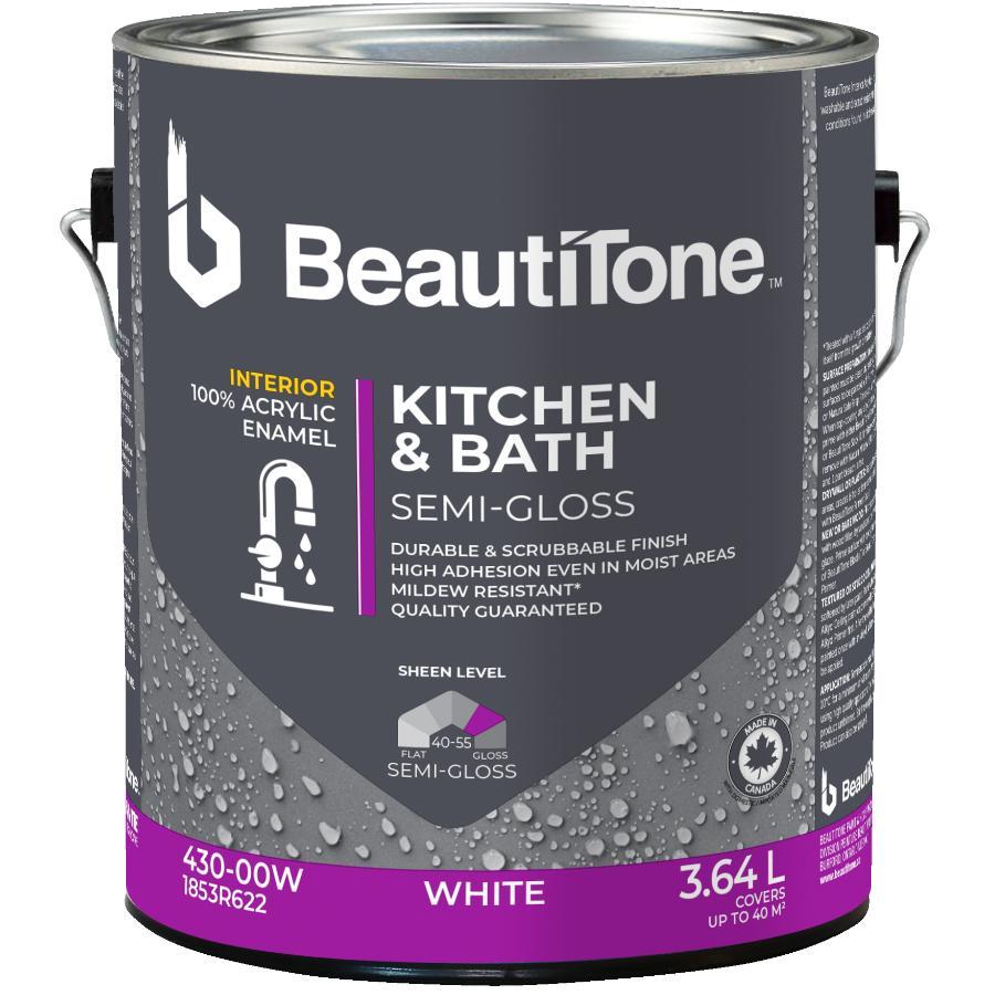 Beautitone Interior Acrylic Latex Semi Gloss Kitchen & Bath Paint - White, 3.64 L