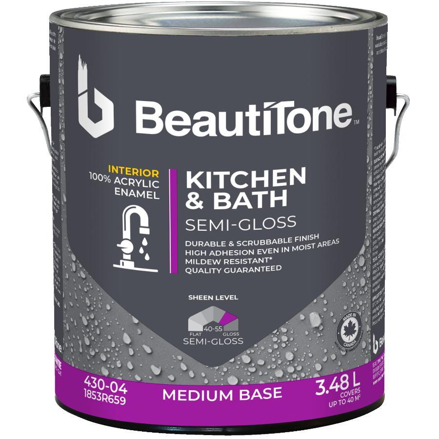 Beautitone: Interior Acrylic Latex Semi Gloss Kitchen & Bath Paint - Medium Base, 3.48 L
