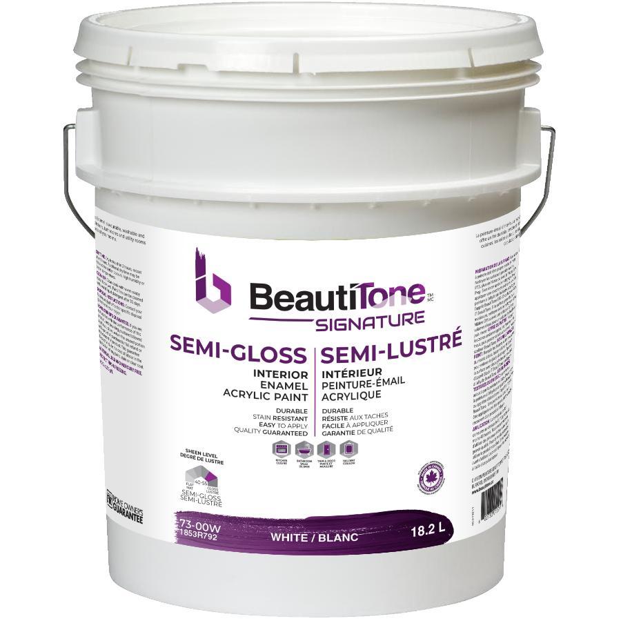 Beautitone Signature Interior Acrylic Latex Semi-Gloss Paint - White, 18.2 L
