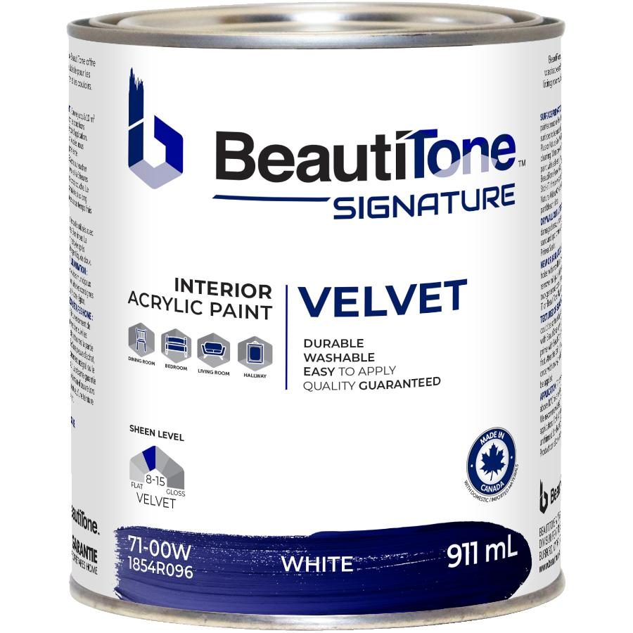 Beauti-tone Signature Series 911mL White Base Velvet Finish Interior Latex Paint