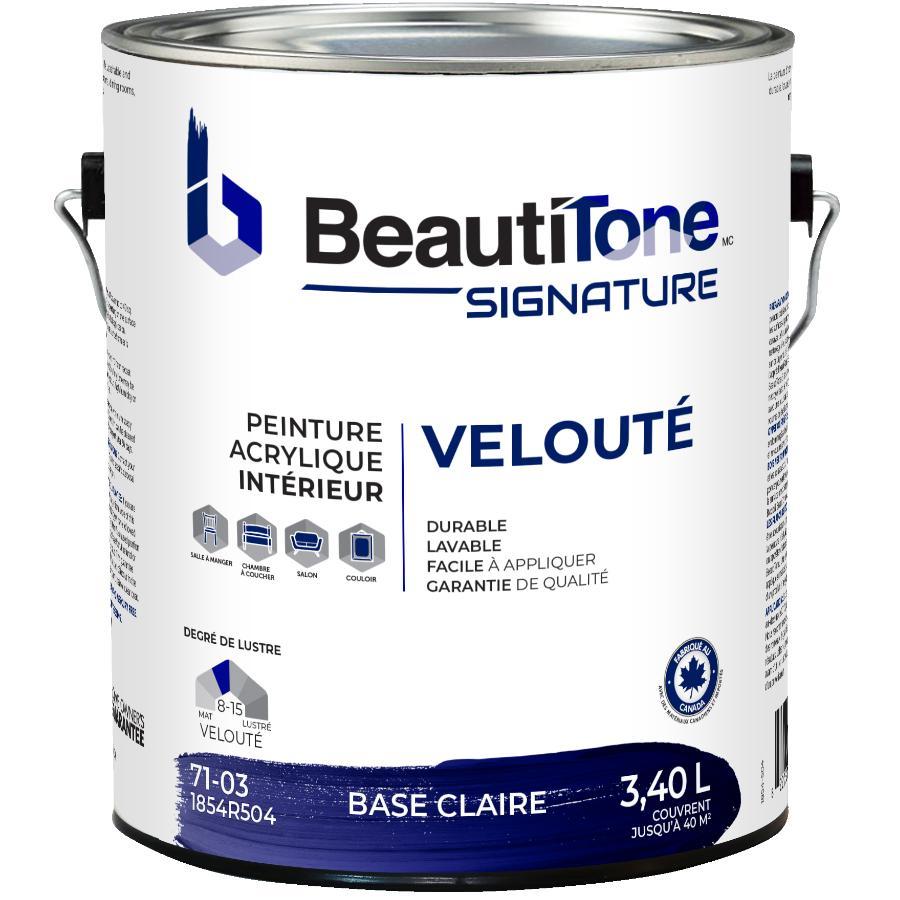 Beautitone Signature: Interior Acrylic Latex Velvet Paint - Clear Base, 3.4 L