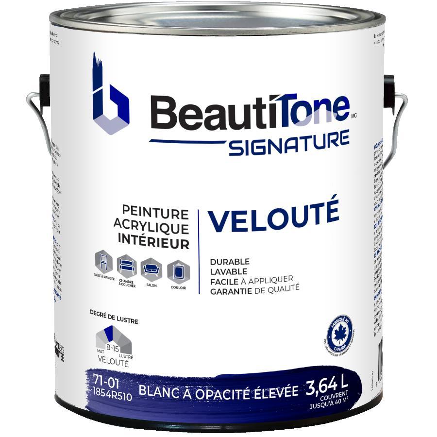 Beautitone Signature: Interior Acrylic Latex Velvet Paint - High Hide White, 3.64 L
