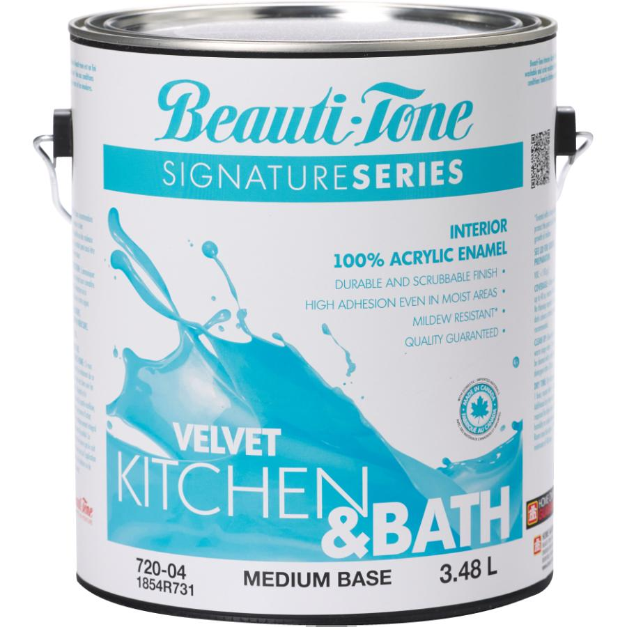 Beauti-tone Signature Series 3.48L Kitchen & Bath Medium Base Velvet Finish Interior Latex Paint