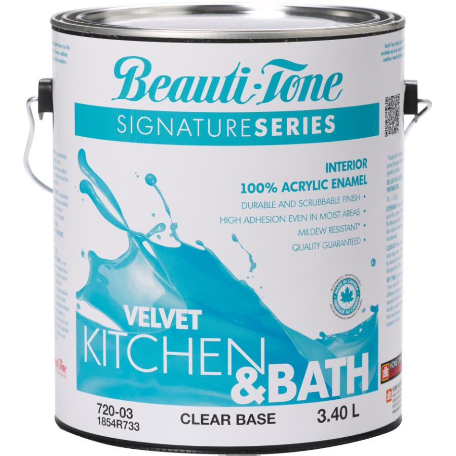 Beauti-tone Signature Series 3.40L Kitchen & Bath Clear Base Velvet Finish Interior Latex Paint