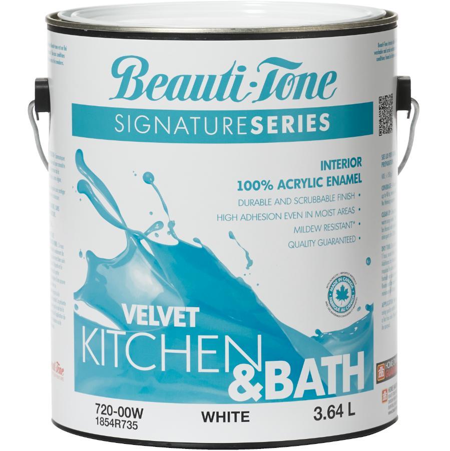 Beauti-tone Signature Series: 3.64L Kitchen & Bath White Base Velvet Finish Interior Latex Paint