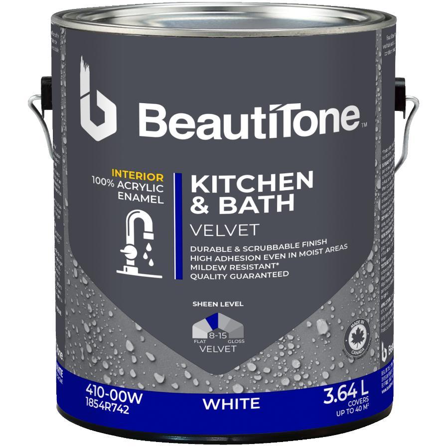Beautitone Interior Acrylic Latex Velvet Kitchen & Bath Paint - White, 3.64 L