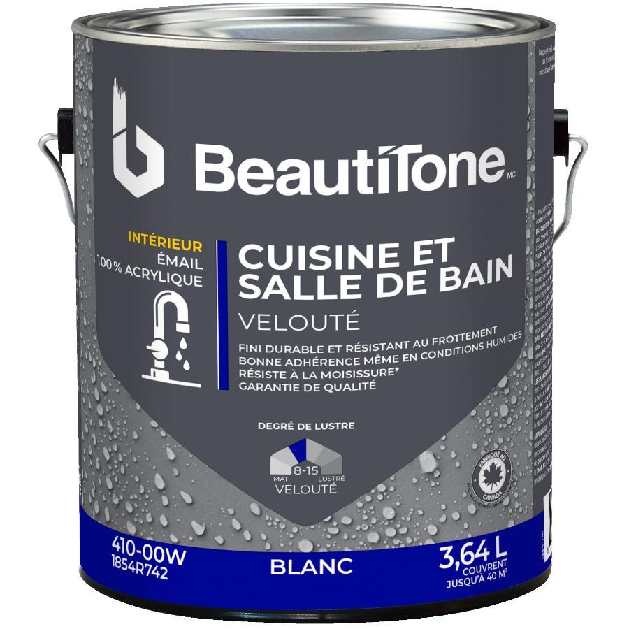 Beautitone: Interior Acrylic Latex Velvet Kitchen & Bath Paint - White, 3.64 L