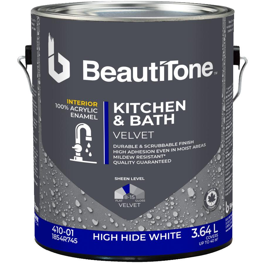 Beautitone: Interior Acrylic Latex Velvet Kitchen & Bath Paint - High Hide White, 3.64 L