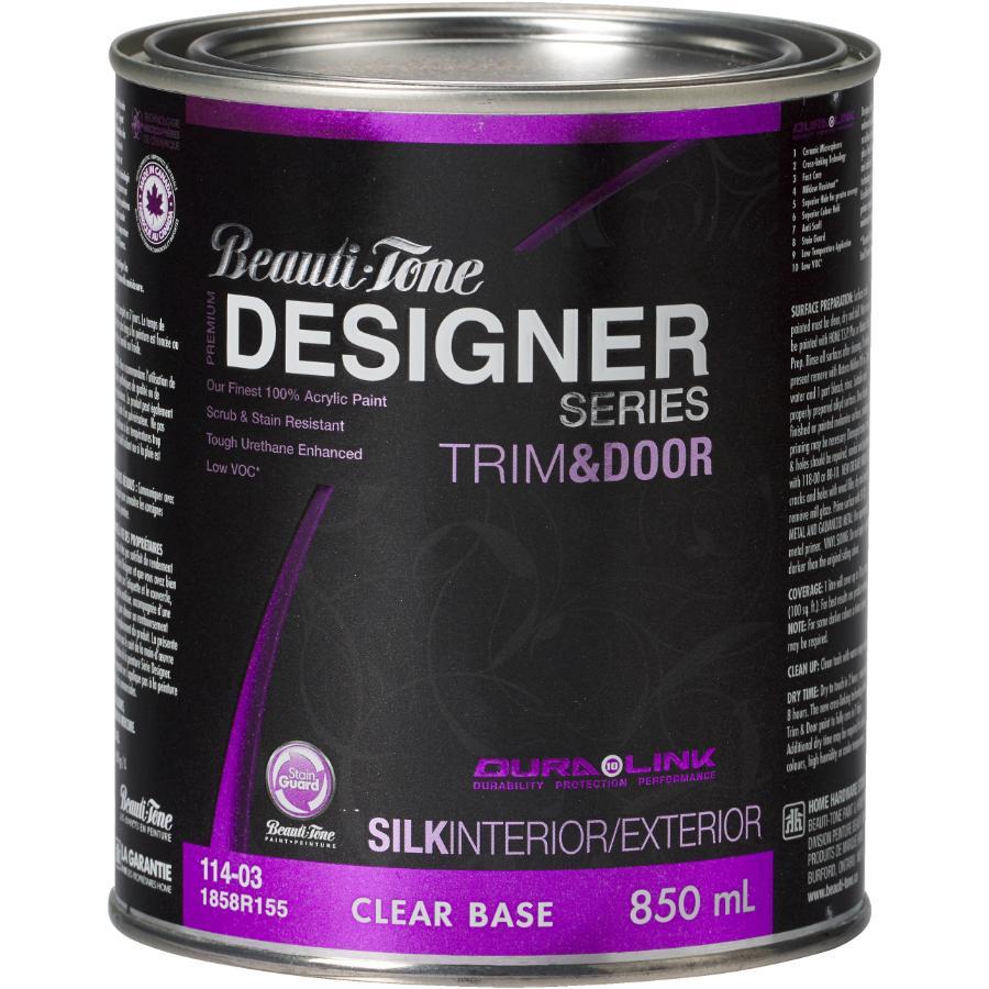 Beauti-tone Designer Series Interior / Exterior Acrylic Latex Silk Trim & Door Paint - Clear Base, 850 ml