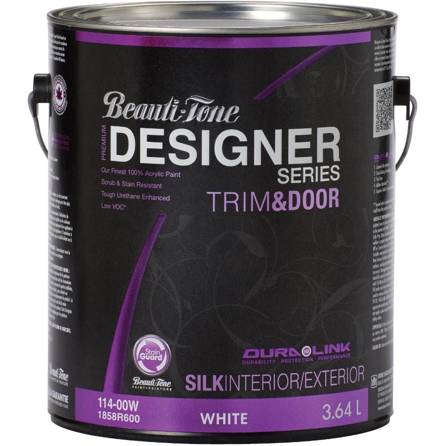 Beauti-tone Designer Series 3.64L Trim & Door White Base Silk Finish Latex Paint