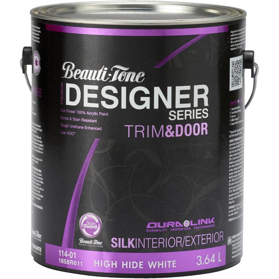 Beauti-tone Designer Series 3.64L Trim & Door High Hide White Base Silk Finish Latex Paint