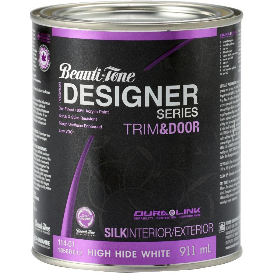 Beauti-tone Designer Series Interior / Exterior Acrylic Latex Silk Trim & Door Paint - High Hide White, 911 ml