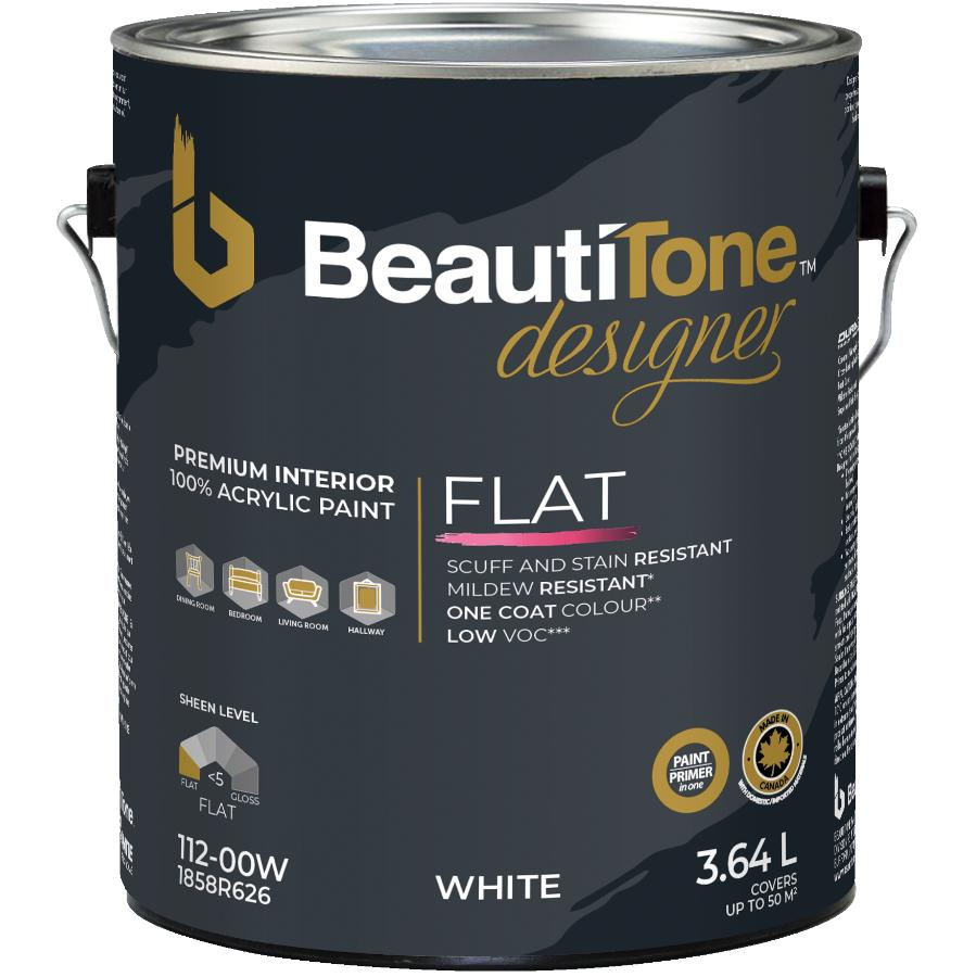 Beauti-tone Designer Series 3.64L White Base Matte Finish Interior Latex Paint