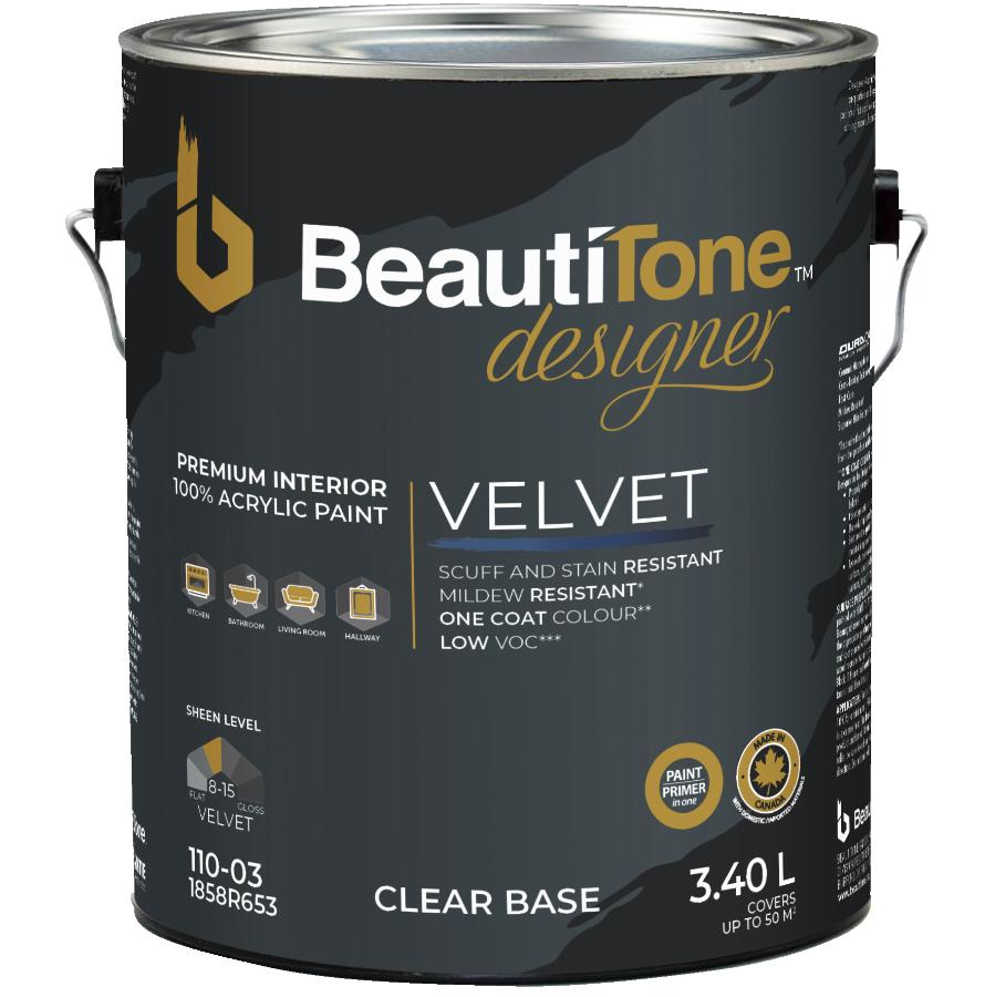 Beauti-tone Designer Series 3.40L Clear Base Suede Finish Interior Latex Paint