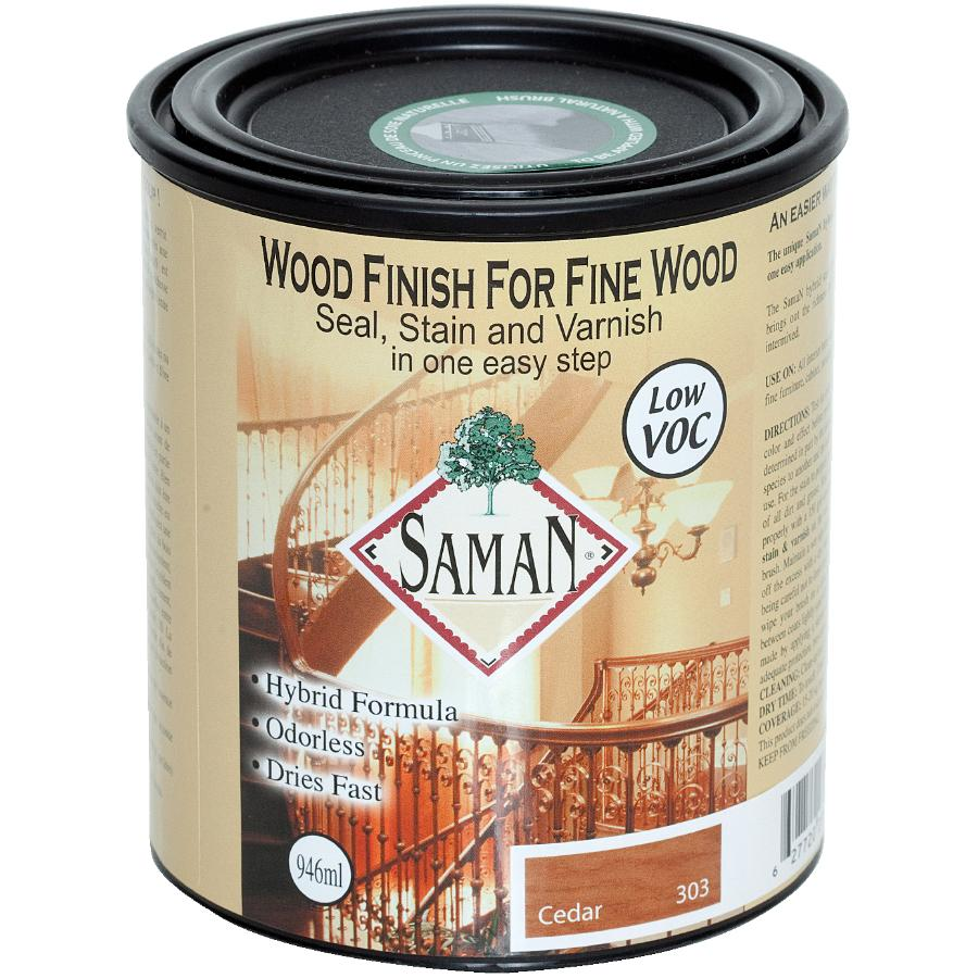 Saman 946mLCedar Interior Oil Based Seal Stain and Varnish Satin Alkyd Finish