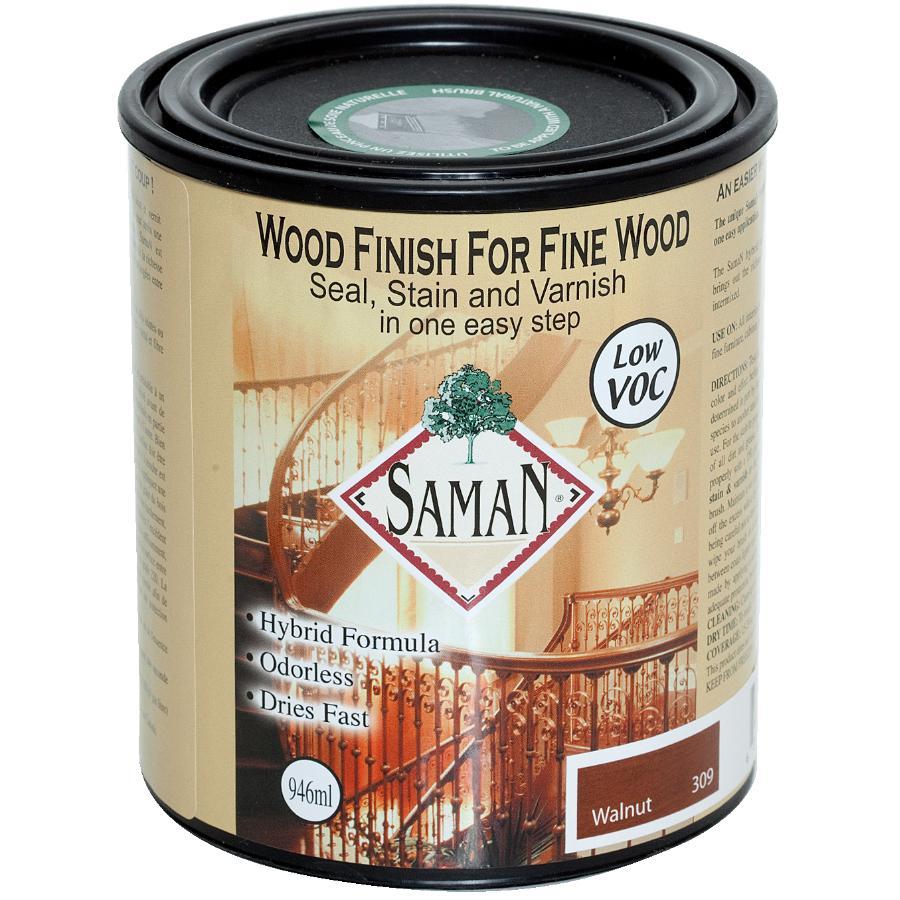 Saman 946mL Walnut Interior Oil Based Seal Stain and Varnish Satin Alkyd Finish