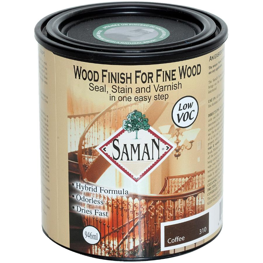 Saman 946mL Coffee Interior Oil Based Seal Stain and Varnish Satin Alkyd Finish