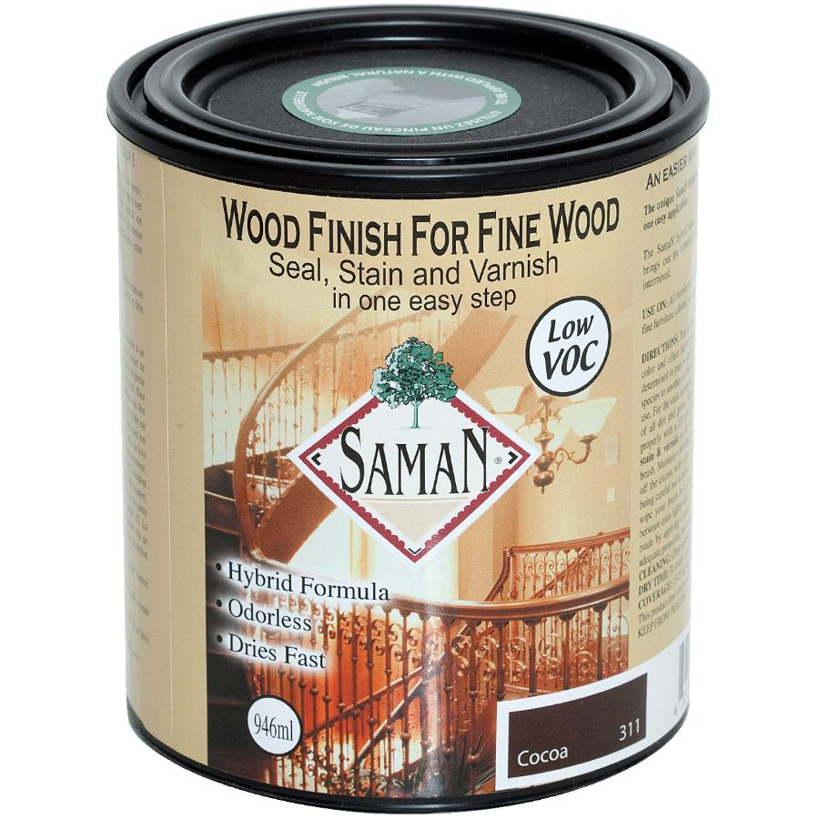 Saman 946mL Cocoa Interior Oil Based Seal Stain and Varnish Satin Alkyd Finish