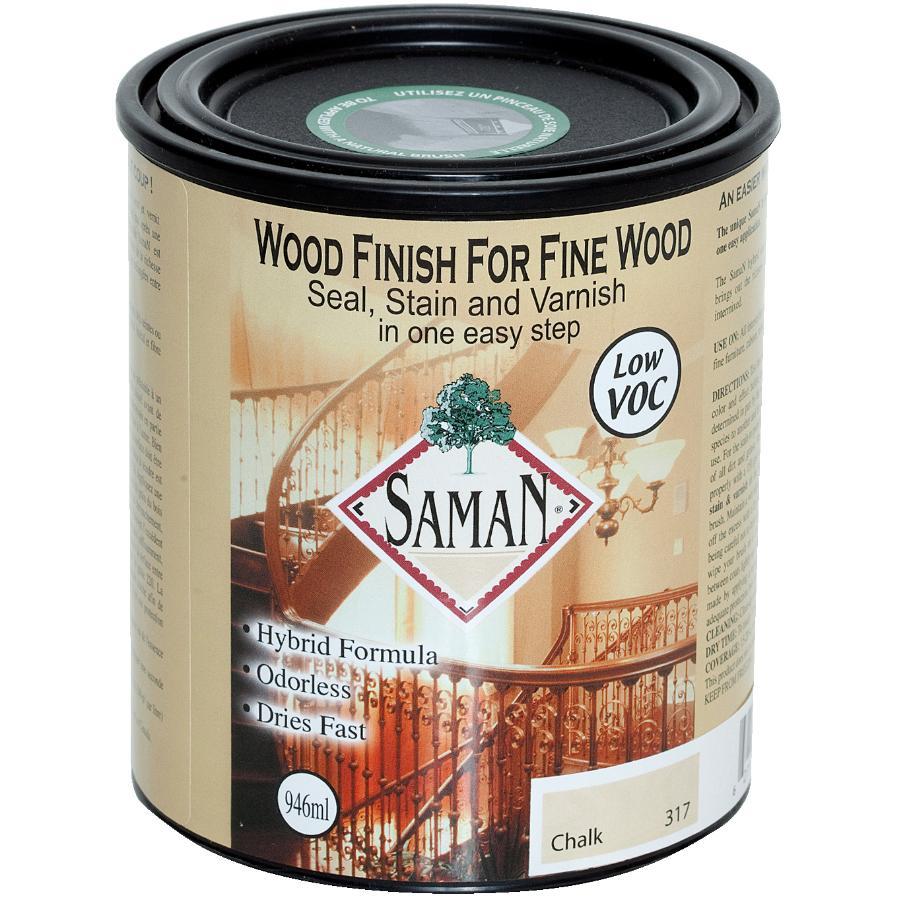 Saman: 946mL Chalk Interior Oil Based Seal Stain and Varnish Satin Alkyd Finish